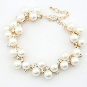 Браслет Aliexpress Fashion Faux White Pearl Crystal Bracelet Metal Gold Plated Bridal Pearl Jewelry Set Wedding 2013 Matching Necklace Available фото