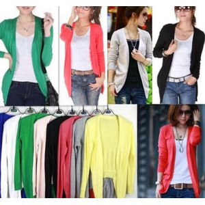 Кардиган Ebay Hot Sale Women Irregular Hem Long Sleeve Cardigan Knit Sweater Candy Colors фото