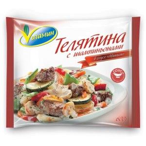 """Овощи замороженные Vитамин Телятина с шампиньонами в соусе """"Авиньон"""" фото"""