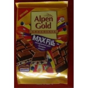 """Шоколад Alpen Gold Max Fill """"Воздушный рис. Фундук. Ягоды"""" фото"""