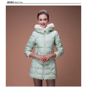 Куртка AliExpress Europe brand women fashion cute casual winter faux rabbit fur hood cotton-padded jackets ladies long parkas coats S1834 фото