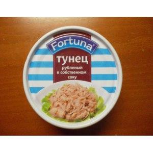 Консервы рыбные Fortuna тунец рубленый в собственном соку фото
