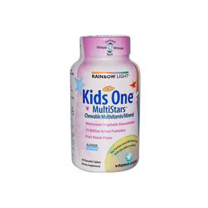 Витамины Rainbow Light Kid's One MultiStars, Chewable Multivitamin/Mineral, Fruit Punch Flavor, 90 Tablets фото