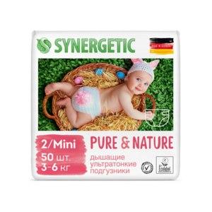 Подгузники SYNERGETIC Pure&Nature, 2/MINI (3-6 кг), 50шт. фото