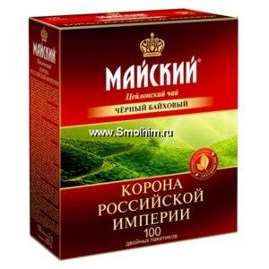 Чай в пакетиках Майский . Цейлонский чёрный. Корона Российской империи. 100 двойных пакетиков фото