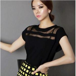Блузка AliExpress Women Chiffon Blouses Shirts New 2015 Summer Black Tulle Sheer Ladies Tops Fashion Casual Cheap Short Hollow Out фото