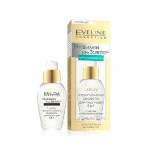 Сыворотка Eveline Luxury Эликсир молодости для лица и шеи 5 в 1 Бриллианты 24 каратное Золото фото