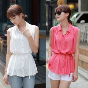 Блуза AliExpress LADY ELASTIC WAIST FOLDS LAPEL SLEEVELESS CHIFFON SHIRT GWF-6187 фото