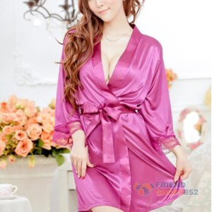Халат AliExpress Sexy Lingerie Women Purple Satin Open Front Sleepwear Nightdress Pajamas фото