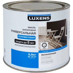Эмаль акриловая универсальная полуматовая для внутренних и наружных работ Luxens фото