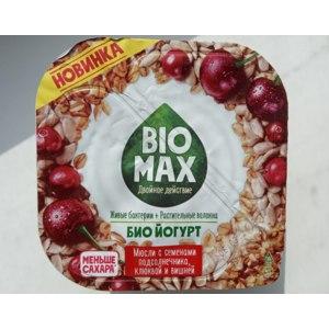Био йогурт Bio Max Мюсли с семенами подсолнечника клюквой и вишней фото
