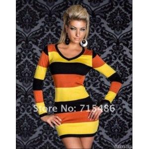 Туника Aliexpress 2013 Free Shipping Sexy Long Sleeve Hot Colored Strips Dress Yellow and Black Sexy Mini dress фото