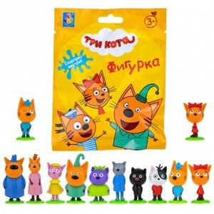 1Toy Игрушка-сюрприз в непрозрачном пакетике - Три кота - Фигурка на подставке с пазлом на 9 деталей фото