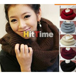 Шарф Aliexpress 2013 New Winter Women Warm Infinity 2 Circle Cable Knit Cowl Neck Long Scarf Shawl 7 Colors#47354 фото