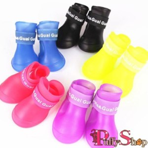Обувь для собак Aliexpress Резиновые сапоги Brand new Lovely Portable Pet Dog Waterproof Boots Rain Shoes J3G# фото