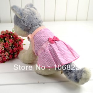 Одежда для собак Aliexpress Платье Fashion Cute Pet Puppy Dog Clothes Princess Sleeveless Lattice Bow Dress Skirt Apparel Free Shipping & Drop Shipping фото