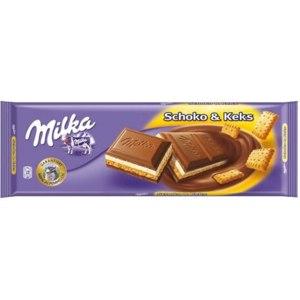 Молочный шоколад Milka Schoko & Keks с печеньем фото