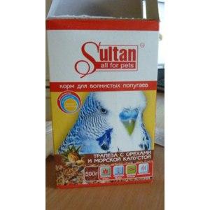 Султан корм для волнистых попугаев / трапеза с орехами и морской капустой 400гр фото