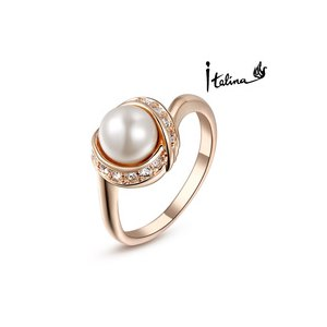 Кольцо Aliexpress Italina Rigant 18K Rose Gold Plated Pearl Ring/jewelry rings for women With Swarovski Crystal Stellux Top Quality #RG93137 фото