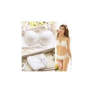 Комплект нижнего белья Aliexpress 2013 new arrival Luxurious adjustable push up thickening ivory lace young girl underwear bra set 3303 фото