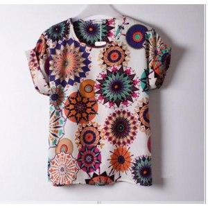 Блузка AliExpress Wholesale O-neck Colorful Bird Heart Print Lady's Chiffon Loose Batwing Casual Short Shirt Blouse фото