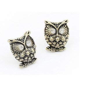 Серьги Aliexpress Sunshine jewelry store vintage created diamond studded earring owl earringE245 C2051 (min order $10) фото