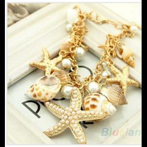 Браслет Aliexpress Ocean Style Multi Starfish sea star conch shell pearl chain beach Braslet Bangle Novelty hot selling 08NI фото