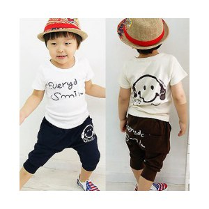 Комплект (футболка и штанишки) AliExpress Retail one set baby boys smile face clothing sets summer sports cotton sets Navy/Coffee colors фото