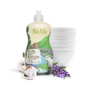 Средство для мытья посуды, овощей и фруктов BioMio экологическое с эфирным маслом лаванды и экстрактом хлопка фото