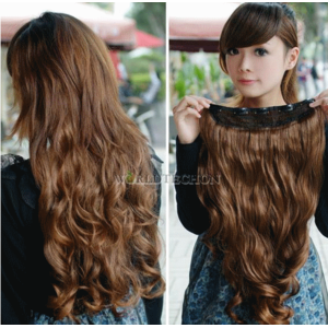 Накладные волосы Aliexpress   Light Brown Width 25cm Long Curl Wavy Clip-on Sexy Stylish Hair Extension фото