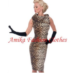Платье AliExpress  Elegant Novlty Bow Collar Sleeveless Knee-length Leopard Stretch Slim Pinup Party Vintage Pencil Print Dresses фото