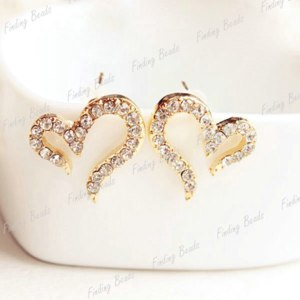 Серьги   Fashion Cute Lady's Crystal Rhinestone Love Heart Earrings Ear Stud фото