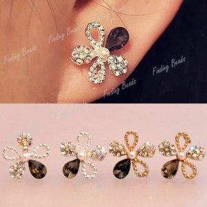 Серьги   Fashion Shiny Glitter Crystal Rhinestones Five Leaves Flower Ear Stud Earrings фото
