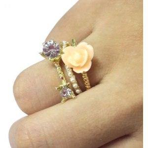 Кольцо   3Pcs Set Fashion Lovely Silver Pearl Ring  фото
