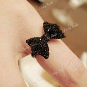 Кольцо   New Lovely Black Bowknot Bow Tie Crystal Rhinestone Adjustable Adjustable Ring фото
