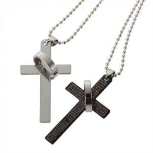 Цепочка с подвеской   New Fashion Prayer Cross Ring Couple Necklace Men Stainless Steel фото