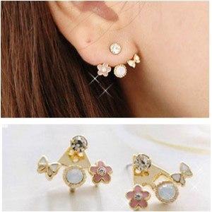 Серьги   Korean Lovely Exquisite Crystal Rhinestone Love Letter Ear Stud Heart Earrings фото