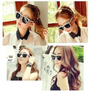 Солнцезащитные очки Aliexpress Latest Designer Hot Fashion Overstate Pearl Sunglasses Handmade Brand Design glasses for Women Ladies Sunglass #JS002 фото