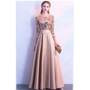 Платье AliExpress DEERVEADO A Line Sequin Golden Evening Dress Long Prom Party Dresses Evening Gown Formal Dress Women Elegant Robe De Soiree M254 фото