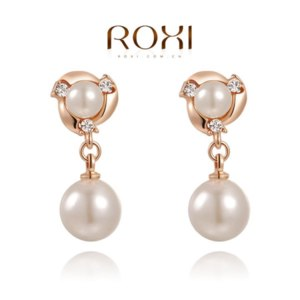 Серьги Aliexpress Roxi Fashion Ladies Jewelry High Quality Rose Gold Plated Filled Shining Austrian Crystals & White Pearl Drop Earrings фото