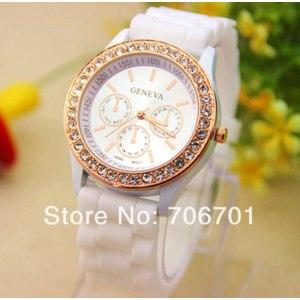 Женские часы AliExpress Fashion Colorful GENEVA Diamond Jelly Dress Watches Silicone Crystal Analog Quartz Watch For Ladies Women Gifts Free Shippping фото