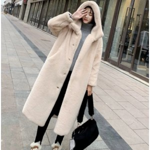 Шуба AliExpress Winter Women High Quality Faux Rabbit Fur Coat Luxury Long Fur Coat Loose Lapel OverCoat Thick Warm Plus Size Female Plush Coats фото