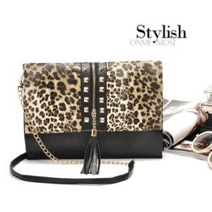 Сумка-клатч Aliexpress Women leather handbags leopard rivets tassel Small shoulder bags for women bags Brands Purse Party B372 фото