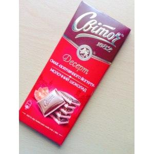 """Молочный шоколад Свиточ Десерт вкус """"Клубничного йогурта"""" фото"""