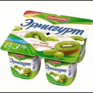 "Йогурт Ehrmann ""Эрмигурт"" легкий, киви-крыжовник 0,3% фото"