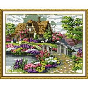 "Вышивка ""Дом с мостом"" с AliExpress Wholesale handcraft 100% Accurate Printed DIY Cross Stitch Kit Embroidery Cross Wall Decor фото"