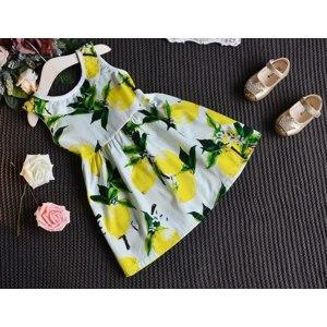 Платье AliExpress Fashion Lemon Girl Dress Ruffles Bowknot Cotton Sleeveless Summer Backless Dresses for Kids Children Clothes 2-6y фото