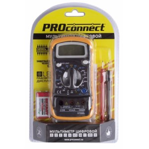 Мультиметр цифровой Proconnect MAS830L Универсальный с функцией прозвонки цепи + чехол и подсветка ЖК-дисплея фото
