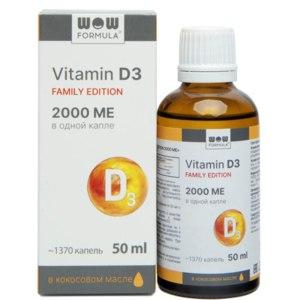 БАД WOW FORMULA Витамин Д Д3 2000 ME Family Edition, 1370 капель в банке, в кокосовом масле фото