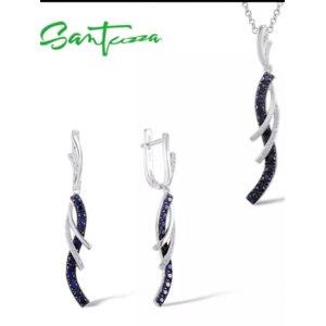 Серебряные украшения Aliexpress SANTUZZA Jewelry Set For Women Charming Blue White CZ Drop Earrings Pendant Set  Pure 925 Sterling Silver Fashion Jewelry фото